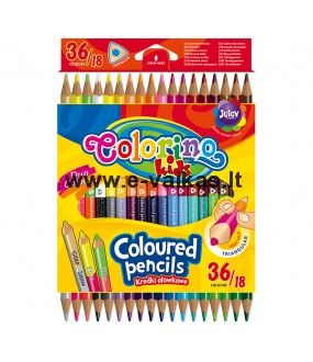 COLORINO CREATIVE Triangular coloured pencils 18 pcs/36 colours, 68512PTR